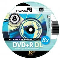 LiveStar DVD+R DL diskas 8.5 GB, 8x, 10 vnt. Cake dėžutėje