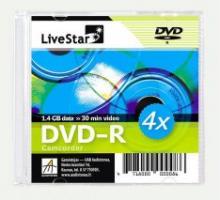 LiveStar DVD-R diskas 1.4 GB, 4x, 8 cm,  Slim dėžutėje