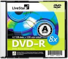 LiveStar DVD-R diskas 4.7 GB, 8x, Slim dėžutėje