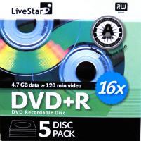 LiveStar DVD+R diskas 4.7 GB, 16x, 5 vnt. popierinėje dėžutėje